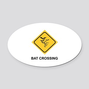 HALLOWEEN - BAT CROSSING Oval Car Magnet